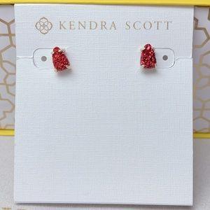 Rare Kendra Scott Gold Red Drusy Harriett Stud